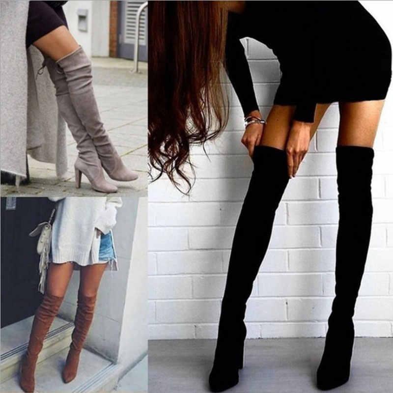 Borruice 2019 sexy festa botas moda camurça sapatos de couro das mulheres sobre o joelho saltos botas trecho rebanho inverno botas altas botas