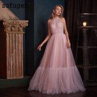 Темно розовый Холтер отделка из перламутровых бус вечернее платье Выпускной Vestidos De Fiesta официальная Вечеринка платье Арабский мусульмански