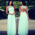 Mint Green Long Lace Chiffon Rustic Bridesmaid Dresses 2017 Sleeveless Open Back A-line Floor Length Country Bridesmaid Gown New