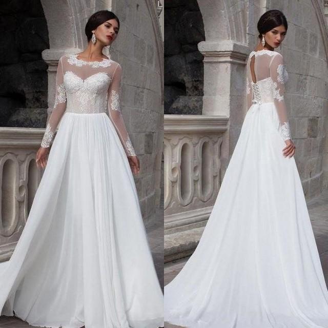 US $149.0 |Sheer Summer Beach Wedding Dress Country Style Vestido De Noiva  Bridal Dress Plus Size Scoop A line Chiffon Long Sleeve Icon-in Wedding ...