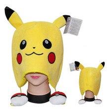 Pikachu Pom Pom Ball Winter Hat For Men Women Soft Plush Cartoon Animal Cap Hat With Ears Skullies Gorros Mujer Invierno 65ZA181
