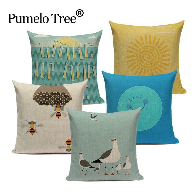 High Quality Cartoon Animal Plant Cushion Cover Linen Cotton Printed Pillow Case Sofa Bed Chair Home Decor Throw Pillow Cover
