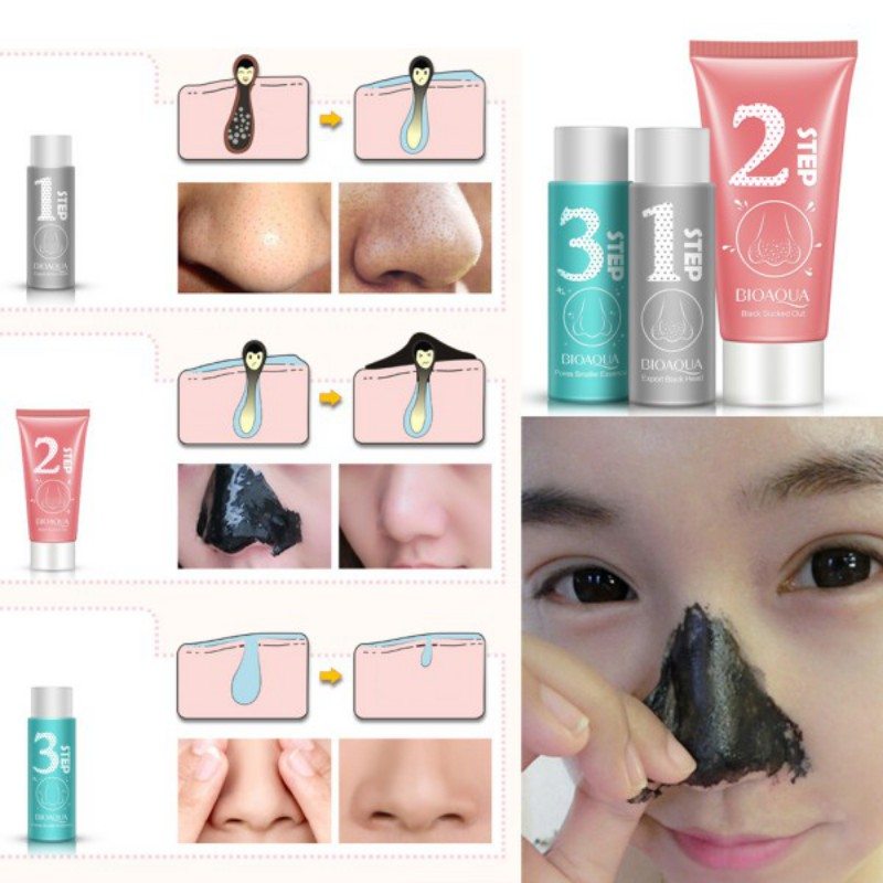 3pcs Nose Blackhead Remover Acne Mask Pore Cleanser Shrinking Pores Black Head Treatment & Mask