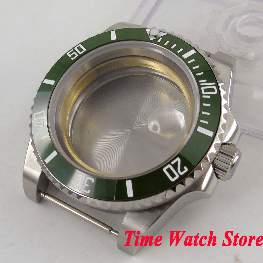 40mm 316L stainless steel Watch Case Sapphire glass green ceramic bezel fit Miyota 8215 ETA 2836 movement SUB men's watch C99 цена и фото