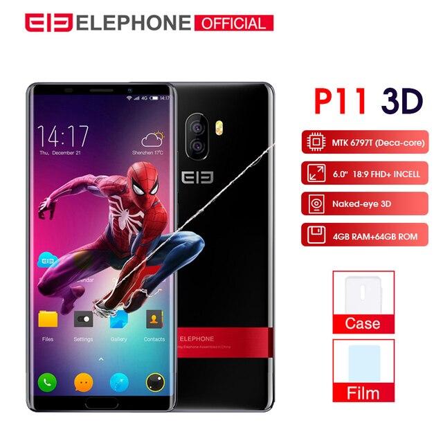 Cargadores de coche Elephone P11 3D teléfono móvil Android 8,0 MTK6797T Deca Core 6,0 pulgadas incell pantalla FHD + 4 GB 64 GB 16MP + 8MP 3200 mah Smartphone 4G
