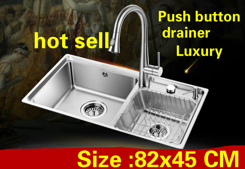 Free Shipping Apartment Kitchen Double Groove Sink Push Button Drainer 304 Stainless Steel Do The Dishes Big Hot Sell 82x45 CM