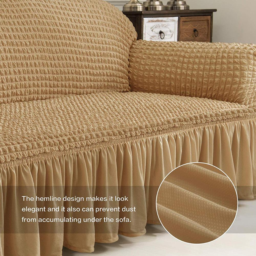 Elastic Sofa Cover with 3D Plaid and Elegant Skirt Slipcover for Universal Sofa of Home Hotel and Office 4