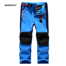 2016 Kids Winter New waterproof Skiing Trekking Fishing hiking softshell pants Children outdoor fleece trouser warm camping PK01 цена 2017