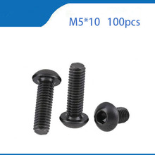Free Shipping 100pcs M5x10 mm M5*10 mm yuan cup Half round pan head black grade 10.9 carbon Steel Hex Socket Head Cap Screw 100pcs lot m5x5 mm m5 5 mm 12 9 alloy steel hex socket head cap screw bolts set screws with cup point m5 5 mm