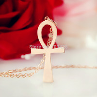 Simple Cross Necklace Rose Gold Egyptian Ankh Symbol Of Life Cross Charm Religious Cross Necklace For