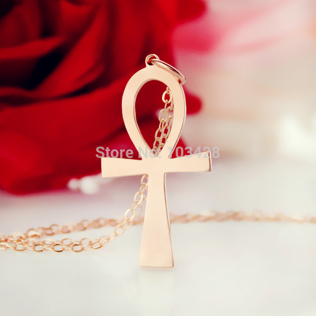 Simple Cross Necklace Rose Gold Color Egyptian Ankh Symbol Of Life