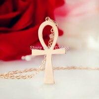 Simple Cruz Colgante de Oro Rosa de Color Egipcio Ankh Símbolo De Vida Cross Charm Cruz Religiosa Collar colgante Para La Fe