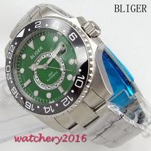 43mm Bliger Sterile Green Dial ceramic Bezel Sapphire Crystal Luminous Hands Calendar GMT Automatic Mechanical Mens Wristwatch