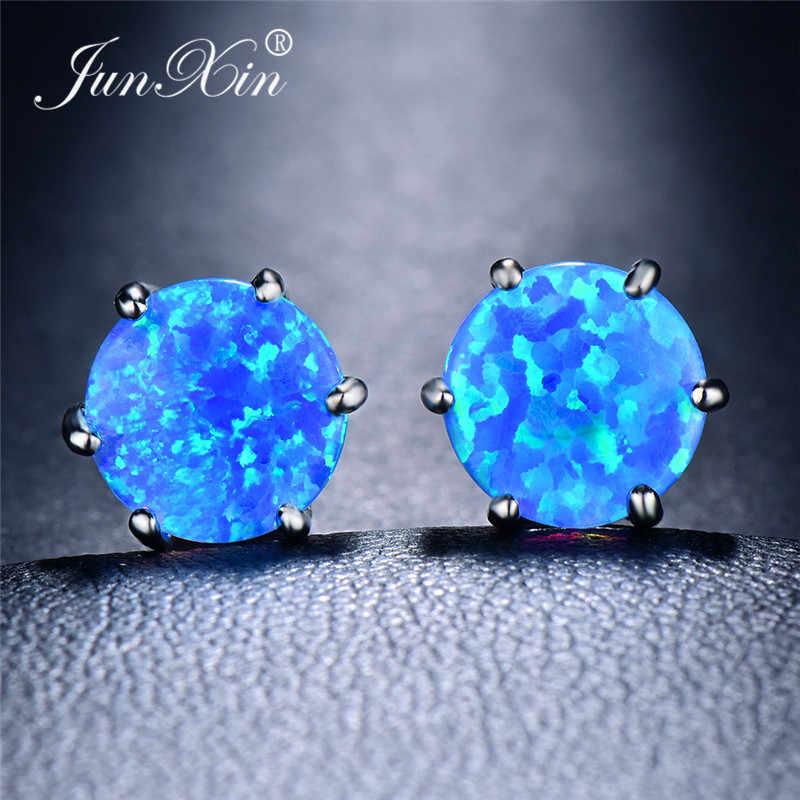 Pendientes de ópalo de Fuego Azul JUNXIN 5/6/7/8MM para Mujeres Hombres oro blanco rellenos redondos pendientes femeninos arcoíris para boda