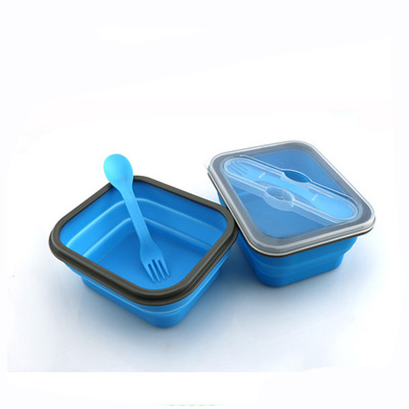 Silicone lunch box folding portable Child Lunchbox Bento outdoor picnic boxes Silicone folding cutlery Microwave Dinnerware