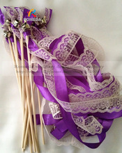 50PCS /LOT Wedding Wands Lace Ribbon Bells Streamers Birthday Party with Silver bell in purple colour