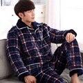 330139/inverno/Homens/Flanela/Pijama terno/roupa Em Casa/anti-frio/Multa mão de obra/projeto de Lapela/Confortável/