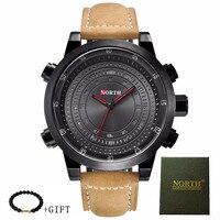 2018 New North Luxury Electronic scanning Men Sport Watch Leather Wristwatch Male Waterproof watches Fashion Quartz Sport