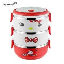 Keythemelife Hello kitty Cajas de Almuerzo de Bento Térmica Termo Alimentos para Niños de Dibujos Animados de Múltiples Capas Lonchera de Acero Inoxidable 304 D1