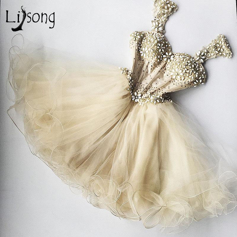 Chic Champagne Beaded Tulle   Cocktail     Dresses     Dress   For Graduation Appliques Ruffles Sexy Cute Formal Party   Dress   Crystal 2017