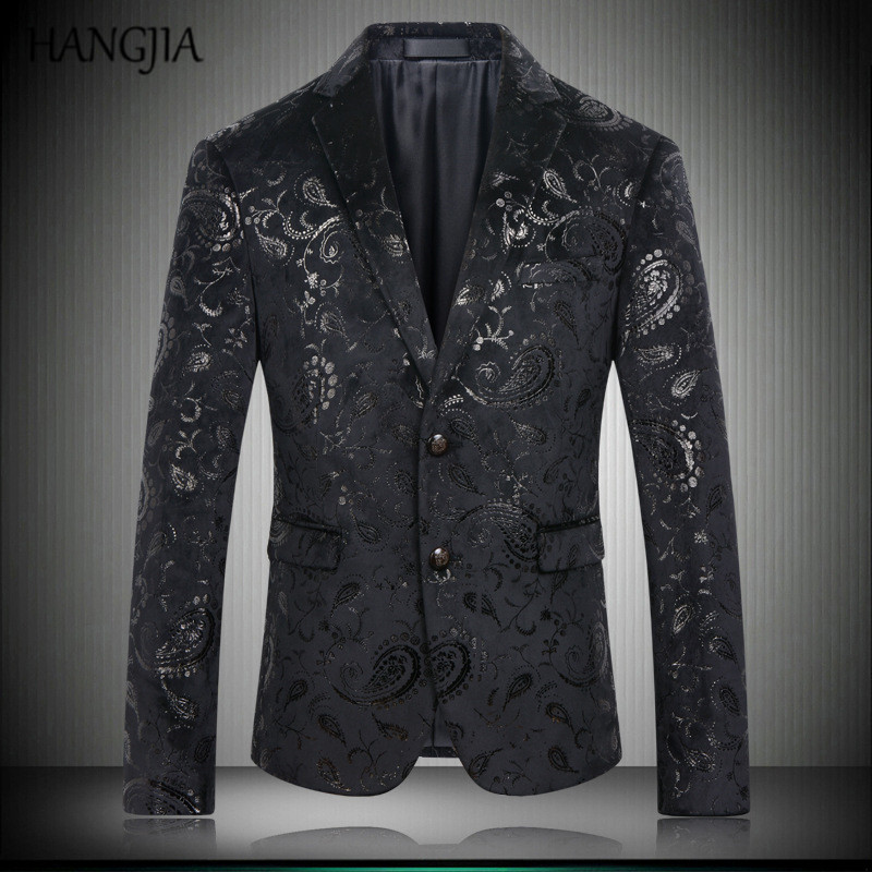 Mens Black Embroidered Blazers Paisley Floral Pattern Suit Jacket Slim Fit Casual British Style Print Tops