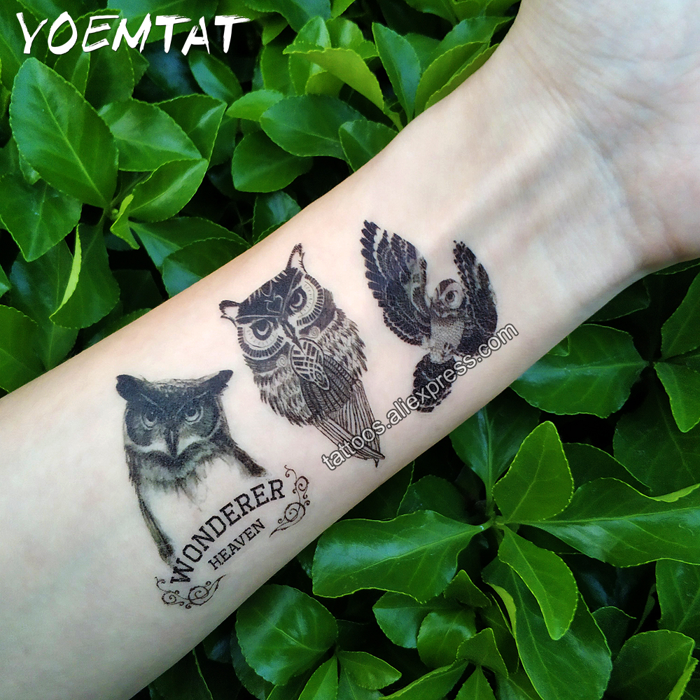 Waterproof Temporary Tattoo sticker on body owl tattoo Water Transfer fake tattoo flash tattoo for girl women men