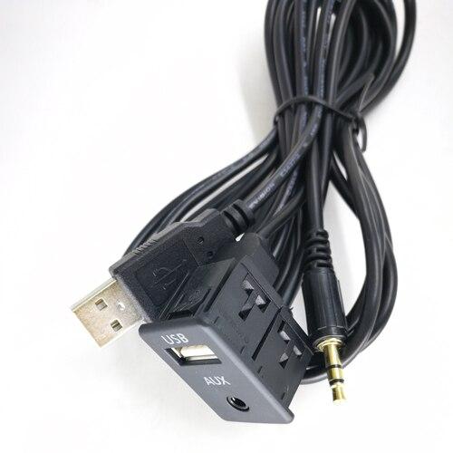Biurlink 100 см Универсальный Автомобильный AUX USB/2RCA USB панельный порт зарядки адаптер для Toyota Collora Camry для Mitsubishi - Цвет: AUX USB Type