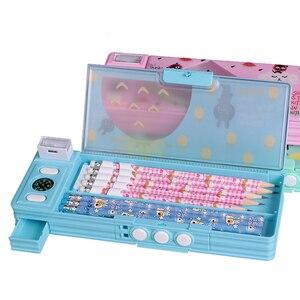 Image 2 - 1pc criativo codificado bloqueio caixa de lápis de dois lados agradável qualidade plástico crianças estudante meninos e meninas presente papelaria caneta caso