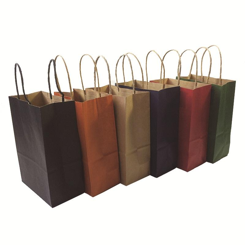 10 Pcs/lot High-end Kraft Paper Bag Shopping Bags DIY Multifunction Festival Gift Paper Bag With Handles 21x15x8cm