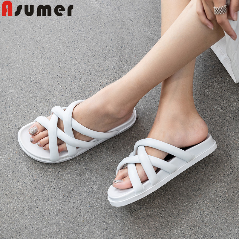 ASUMER Sandals Ladies Shoes Slingback Comfortable Flat Casual Fashion New Solid