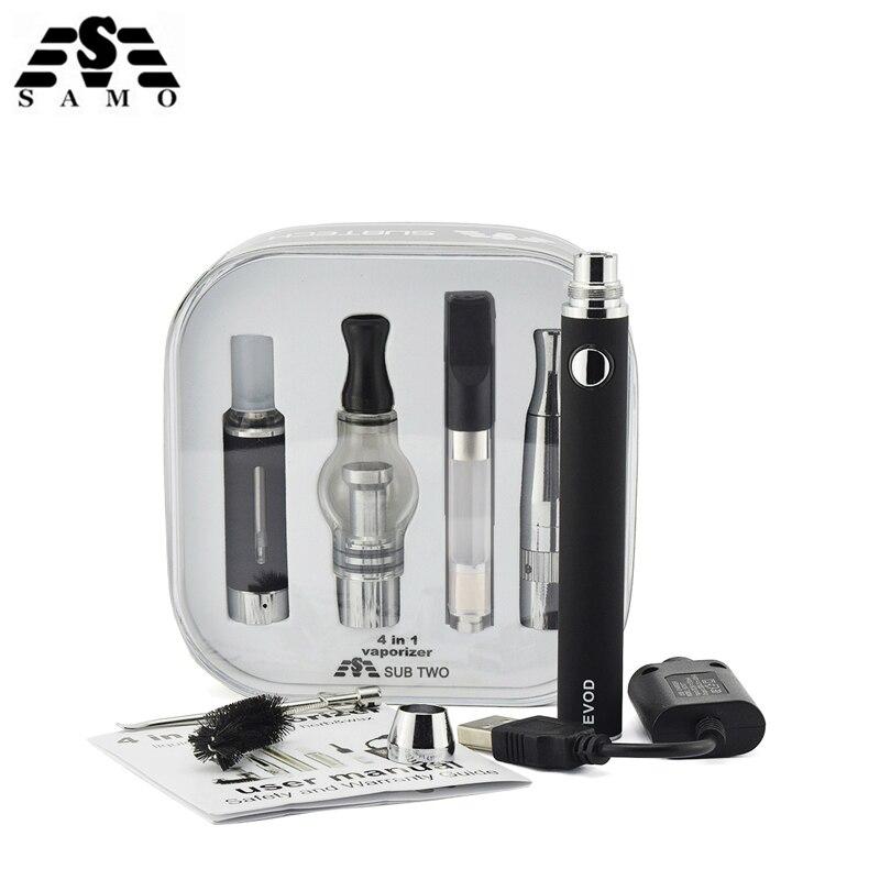 Original 4 in 1 Verdampfer E zigarette mit Baterry 4 Zerstäuber für flüssige Wachs CBD öl Trockenen kraut Vape stift elektronische zigarette Kit