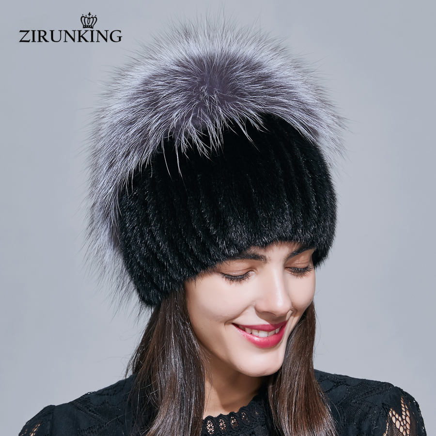 ZIRUNKING Warm Real Fur Hats Women Mink Winter Fur Caps Female Quality Casual Beanies Luxurious Hat ZH1710