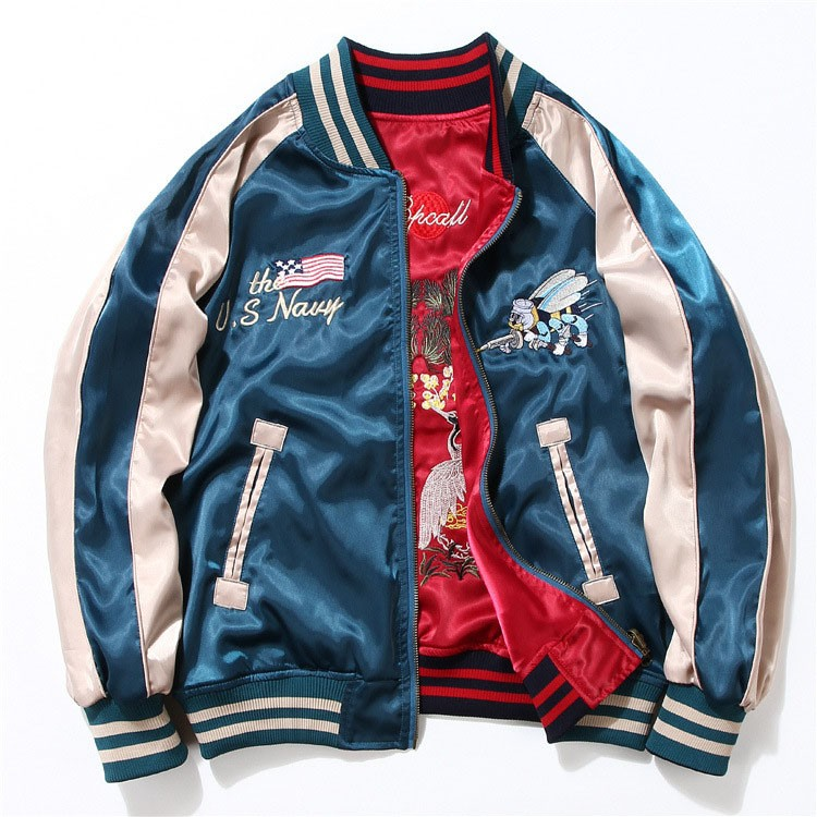 Aolamegs Japan Yokosuka Embroidery Jacket Men Women Fashion Vintage Baseball Uniform Both Sides Wear Kanye West Bomber Jackets (13)