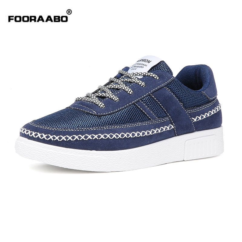 Fooraabo hot sale breathable men casual shoes new 2017 spring lace up canvas mens trainers design
