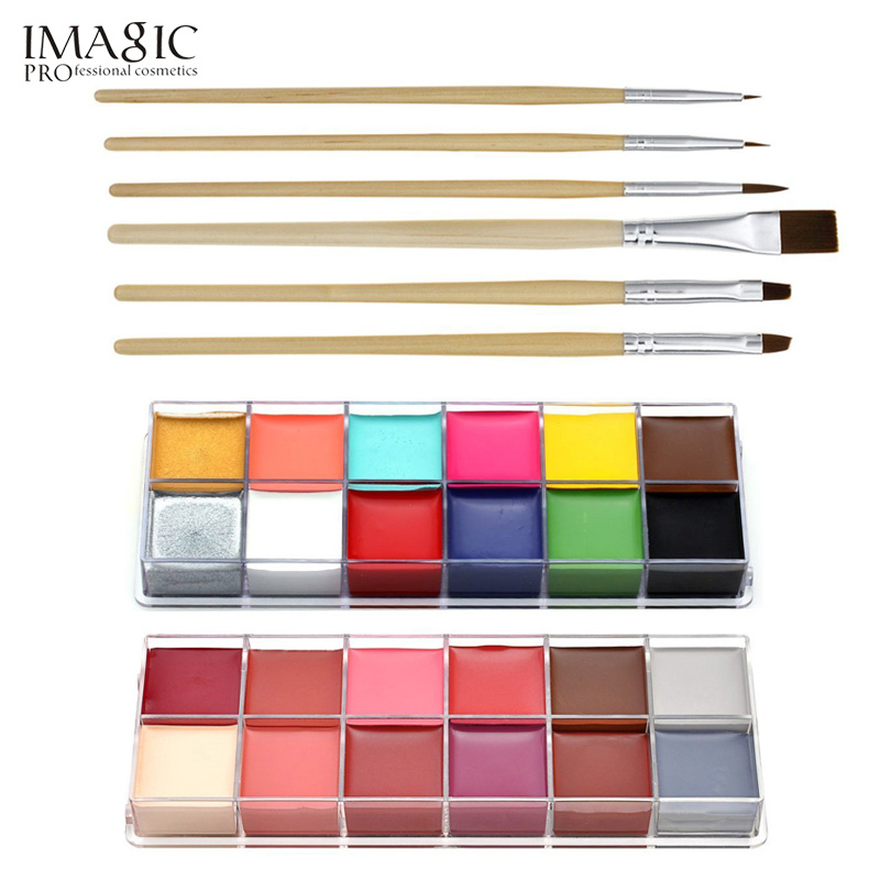 Professional Face Paint Oil 12 Colors Body Painting Art Party Fancy Make Up + Brushes SetProfessional Face Paint Oil 12 Colors Body Painting Art Party Fancy Make Up + Brushes Set