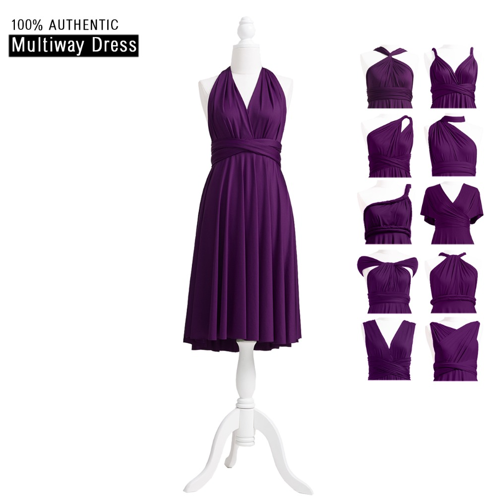 398a5b1b2d5 Dark Purple Bridesmaid Dress Short Infinity Dress Multi Way Dress  Convertible Wrap Dress With Halter V