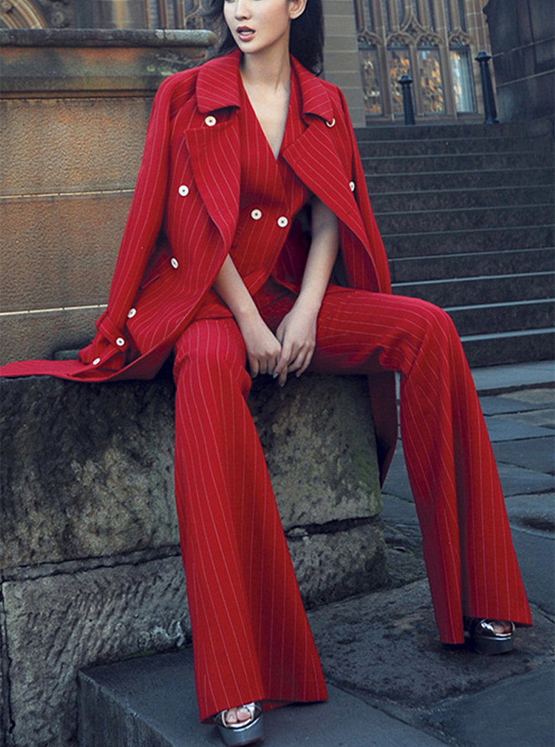 Amazing Red Notched Long Blazer &Vest& Flare Pant Suits Casual Office Lady Striped Full Sleeve Three Piece Set SO2414