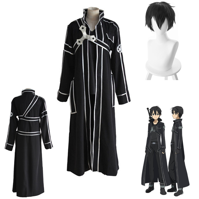 Anime Sword Art Online SAO Cosplay Kirito Kazuto Kirigaya Costume  Halloween Full Sets Outfit Set With Wig For Men Costumes S-XL