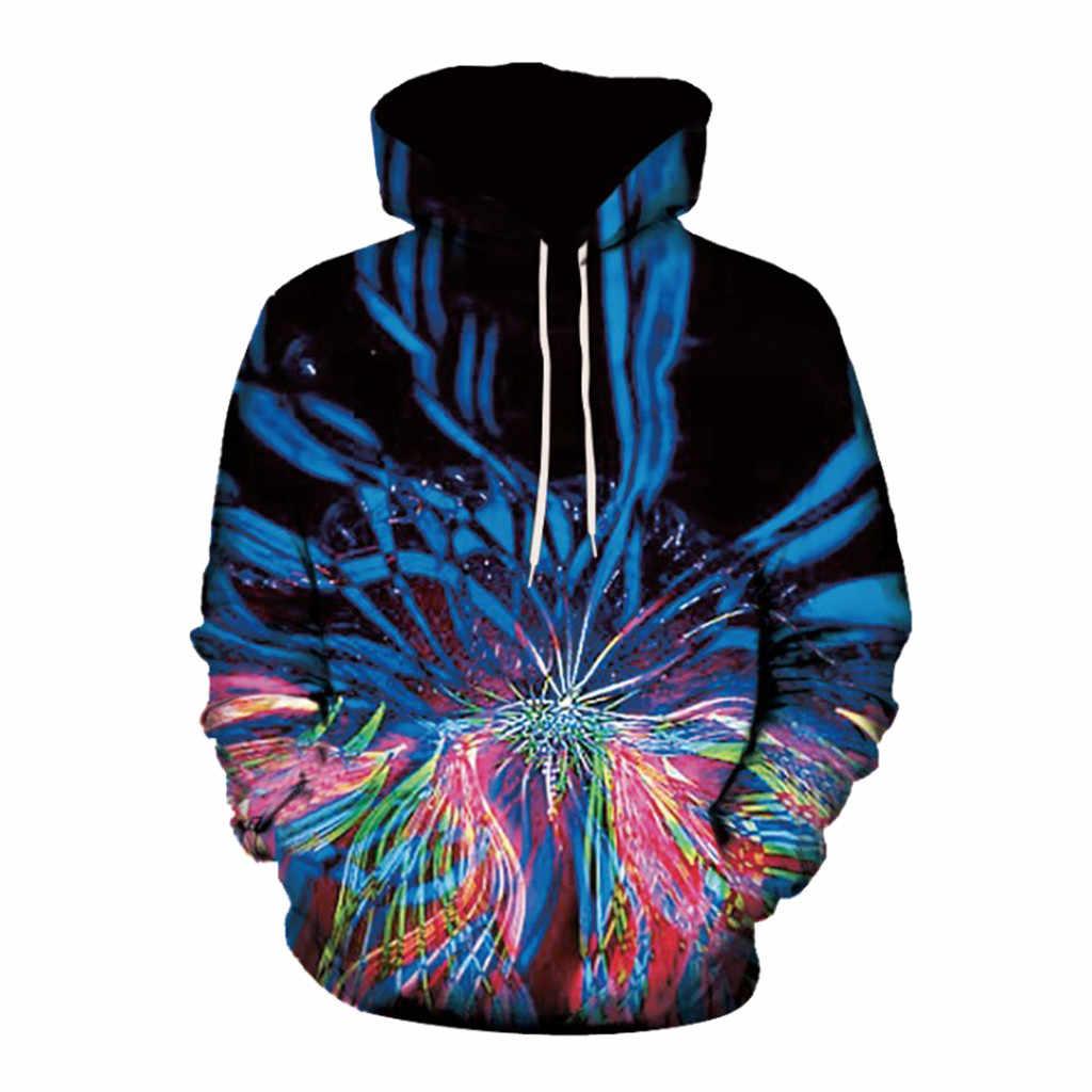 CHAMSGEND Мужская мода длинный рукав Лента 3D принт с капюшоном свитер карман рукав Повседневная Толстовка Плюс размер теплая Пара куртка