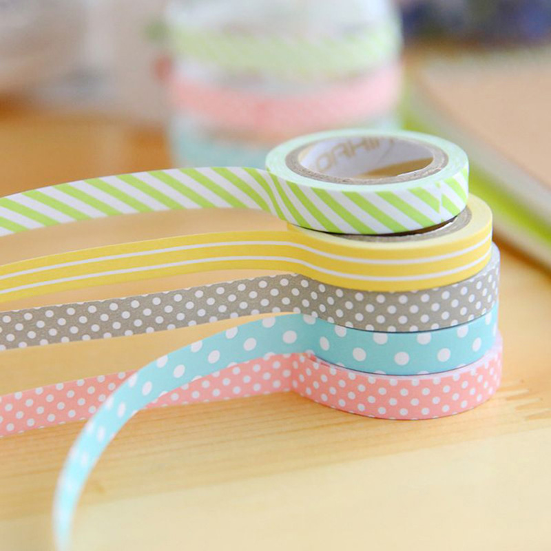 5 Rolls Candy Color Cute Stripe Dot Washi Tape Sticker Set Scrapbooking Home Decoration Party Decoration Lot  1306