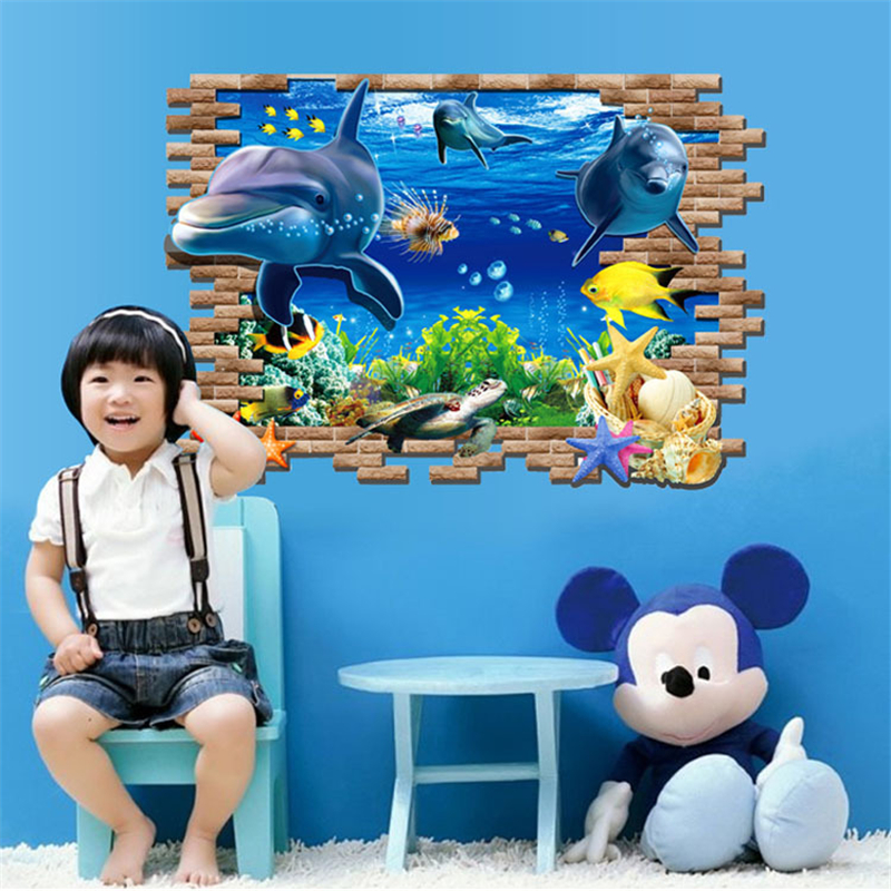 Dolphin Sea Ocean Art Wall Stickers Vinyl Decal Kids Room Home   Environmentally Garden Free shipping P130. Oceans Garden Furniture Promotion Shop for Promotional Oceans