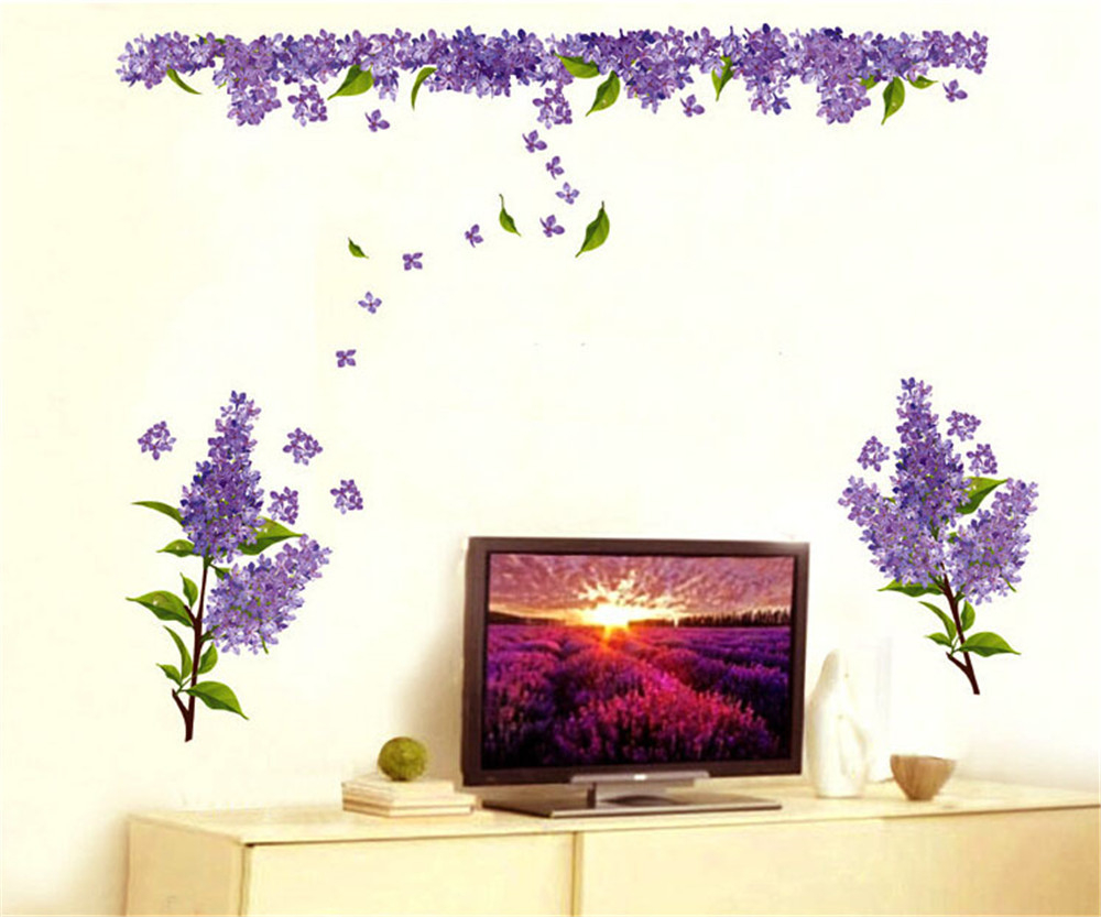 Beautiful flowers purple lavender wall decals living room bedroom removable wall stickers murals in wall stickers from home garden on aliexpress com