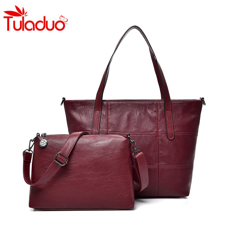 2018 Thread Leather Women's Shoulder Bags 2 Pcs Women Messenger Bag Femme Shoulder Bags Luxury Totes Ladies Handbag Bolsas Sac citizen 2 femme jamis