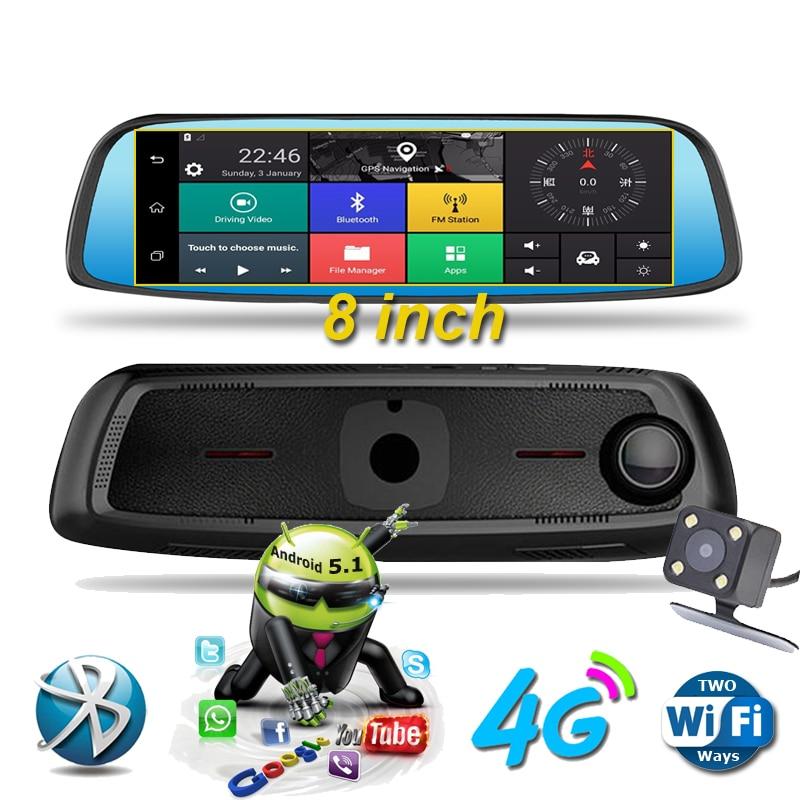 """imágenes para 8 """"4G Táctil IPS Cámara Del DVR Del Coche Espejo Especial GPS Bluetooth WIFI 16 GB Android 5.1 FHD 1080 p de Doble Lente Video Recorder Dash Cam"""