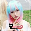 HARAJUKU candy pink blue blended-color high temperature wire short cosplay wig