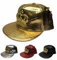 2016 Moda Outono Marca Crowne Europa de Metal Boné de Beisebol de Couro chapéu Para Mulheres Dos Homens Casual Hip Hop Snapback Tampas de Sol chapéus