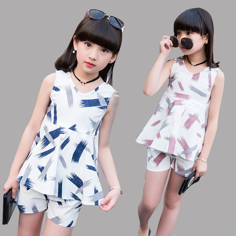 Children Clothes Sets for Girls Summer Print Cotton Outfits Infants Girls Vest & Shorts Suits 8 10 12 Years Kids Tops Pants Sets