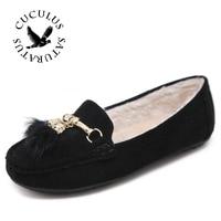Cuculus Winter Women Loafers Shoes Warm Soft Women Flats Winter Fur Lined Slip On Ladies Moccasins