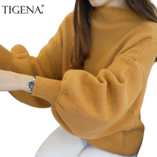 TIGENA Lantern Sleeve Turtleneck Sweater Women Jumper 2018 Winter Knitted Pullover and Sweater Female Pull Femme Yellow White