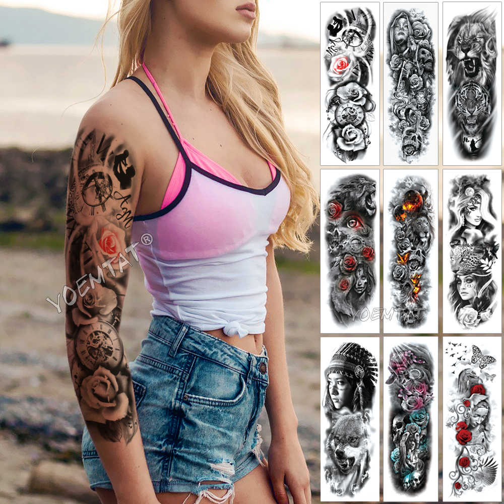 c4cfcbc46 Large Arm Sleeve Tattoo Family Time Waterproof Temporary Tattoo Sticker  Rose Mechanical Clock Men Full Skull
